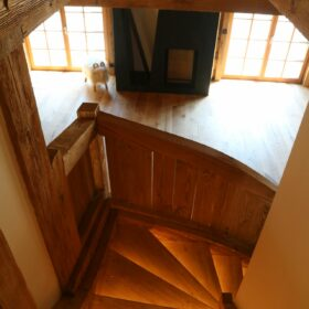 view in the stairs towards the living space