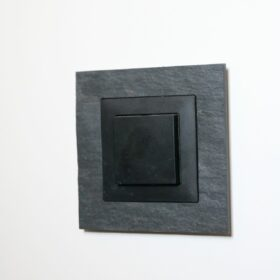 detail of the light switches with slate finish