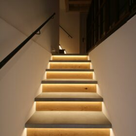 stairs lit by LED strips