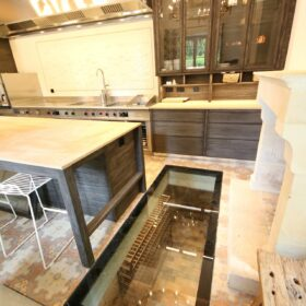 main kitchen - glazing on the wine cellar