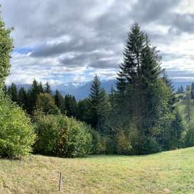 panorama - view from the future construction on the Alps and Lake Geneva
